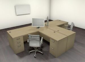 Two Persons Modern Executive Office Workstation Desk Set ch amb s5