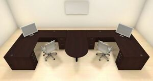 Two Persons Modern Executive Office Workstation Desk Set ch amb s52