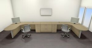 Two Persons Modern Executive Office Workstation Desk Set ch amb s75