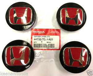 Genuine Oem Honda Set Of 4 Black W Red Center Caps 44732 tgh a01 Type R Cap