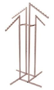 4 way Clothing Rack Rose Gold Slant Arm Garment Retail Display 48 72 H Adjust