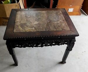 Antique Marble Top Table Chinese Influence