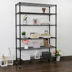 6 shelving Organizer Shelves Home Storage Wire Rack Adjustable Heavy Duty Black