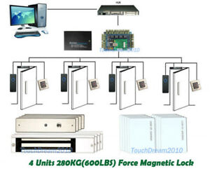 Proximity Rfid Door Entry Access Control Systems For 4 Doors 600lbs Mag Lock