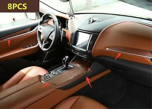 8pcs Abs wooden Style Car Interior Kit Cover Trim For Maserati Levante 2016 2017