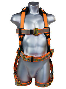 Warthog Maxx Construction Adjustable Full Body Harness With Legs And Waist Belt