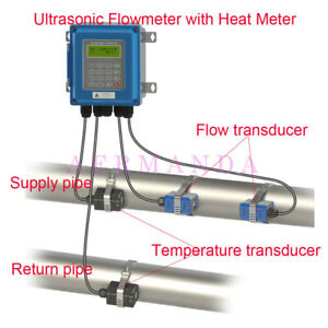 Digital Wall Mounted Ultrasonic Water Flow Meter Flowmeter Heat Meter Tuf 2000b