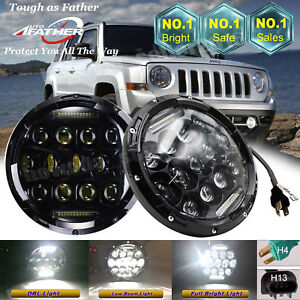 Pair 7 Inch Round Led Headlights Drl Projector Light For 2008 2016 Jeep Patriot