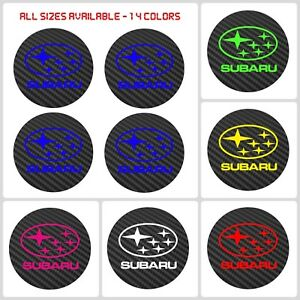 4x Subaru Carbon Fiber Vinyl Wheel Rims Centre Cap Stickers Decals Wrx Sti Brz