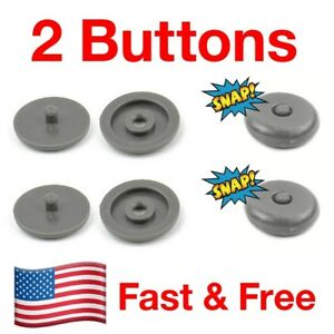 Snaps On 2 Seat Belt Button Buckle Stop Universal Fit Stopper Kit In Gray