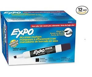 Expo Low Odor Chisel Tip Dry Erase Markers Black 12 12 Packs 144 Total 1 Case