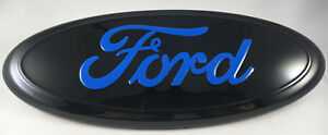 9 Ford Black Blue 04 14 F150 Front Grill Tailgate Emblem Oval Decal Badge
