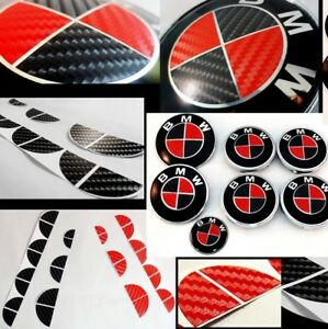 Bmw Carbon Fiber Look Badge Roundel Overlay 1 2 3 5 6 X M Z F Series Red Black