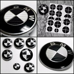 Bmw Carbon Fiber Look Badge Roundel Overlay 1 2 3 5 6 X M Z F Series Black White