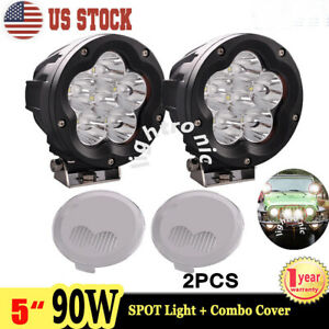 2x 5 Inch 90w Led Driving Light Spot Round Offroad Work Lamp Fog Combo Cover