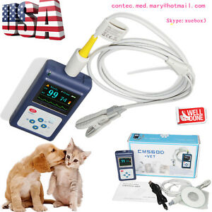Veterinary Pulse Oximeter Handheld Spo2 Pr Monitor Vet Tongue Probe sw us Seller