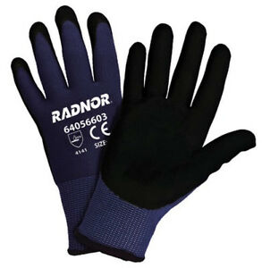 Radnor Black And Blue 15 Gauge Nitrile Microfoam Coated Gloves 12 pack Medium
