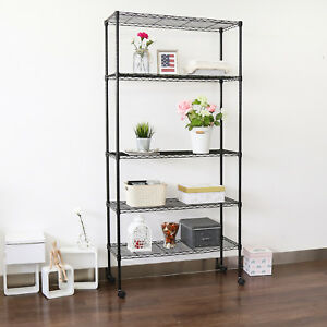 5 tire Rolling Metal Storage Shelves Garage Kitchen Racks Organizer chrome black