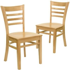 2 Pk Hercules Series Natural Wood Finished Ladder Back Wooden Restaurant Chair