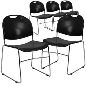 5 Pk Hercules Series 880 Lb Capacity Black Ultra Compact Stack Chair With
