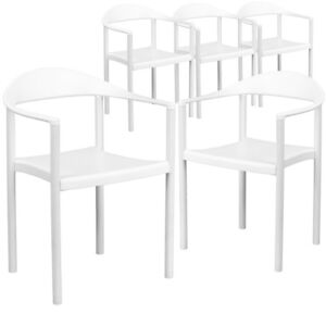 5 Pk Hercules Series 1000 Lb Capacity White Plastic Cafe Stack Chair