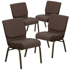 4 Pk Hercules Series 21 Extra Wide Brown Fabric Stacking Church Chair