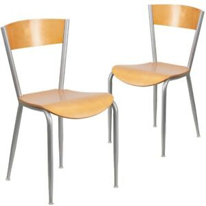 2 Pk Invincible Series Metal Restaurant Chair Natural Wood Back