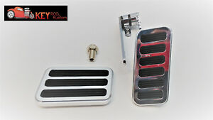 Large Billet Aluminum Throttle Pedal With Brake Pedal Rubber Pad Hot Street Rod