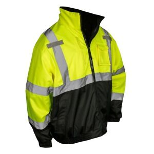 Radians Class 3 Reflective Safety Bomber Jacket With Liner Yellow black