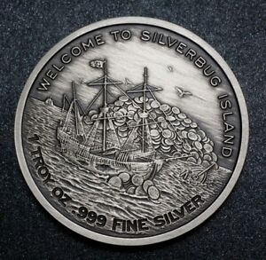 2015 Finding Silverbug Island 375 1oz 999 Silver Antiqued Silver Coin M 2000