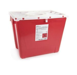 9 X Sharps Container 8 Gallon 2266 Prevent 2 piece Red Base Horizontal Entry Lid