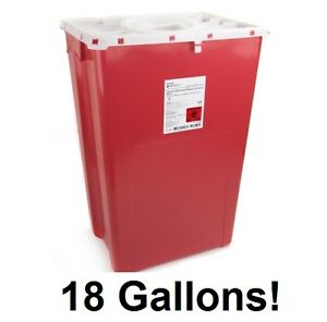 7 X Sharps Container 18 Gallon 2268 Prevent 2 piece Red Base Locking Lid Case