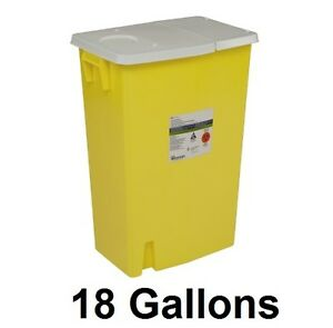 Covidien Chemotherapy Sharps Container 8989 Sharpsafety 18 Gallon Ylw Base Hing