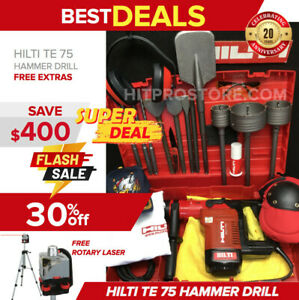 Hilti Te 75 Hammer Drill Preowned Free Rotary Laser bits extras Quick Ship