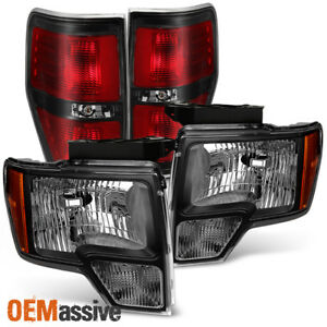 Fit 2009 2014 Ford F150 Pickup Truck Black Headlights Svt Style Tail Lights