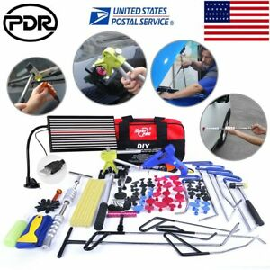 115 Paintless Dent Repair Puller Lifter Pdr Tools Rods Led Light Hail Tail Set