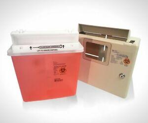 Wall Mount Locking Cabinet With 5 Qt Sharps Container Free Shipping