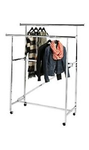 Clothing Rack Rolling Double Rail Bar Retail Clothes Salesman Garmet 300 Lbs