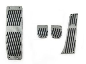 4pcs Silver Carbon Fiber Manual Smg Dead Pedals For 1999 2006 Bmw E46 M3