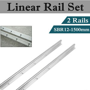 2x Sbr12 1500mm Fully Supported Linear Rail Slide Guide Shaft Rod Us Stock
