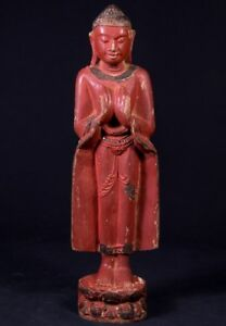 Middle 20th Century Old Wooden Buddha Statue From Burma Antique Buddha Statues