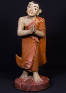 Middle 20th Century Old Burmese Monk Statue From Burma Antique Buddha Statues