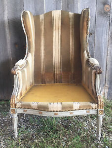 Antique French Velvet Armchair Or Bergere Chair Striped Carved Floral Details