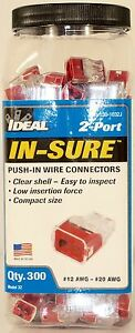 New 300 Pack Ideal 2 port Red In sure Push In Wire Connectors 30 1032j