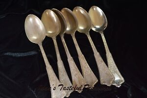 6 Antique Sterling Silver Tiffany Co Persian Pattern Dinner Spoons Circa 1900