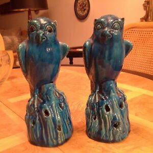 Antique 19th Century Pair Chinese Export Owls Rare Egyptian Blue