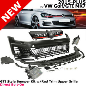For Vw Golf 15 17 Mk7 Gti Style Front Bumper Cover Led Fog Mesh Grille Red Trim