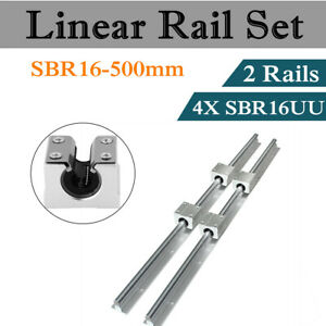 2set Sbr16 500 Linear Slide Rail Shaft 16mm Cnc 4pcs Sbr16uu Bearing Block Us