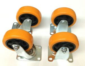 4 Heavy Duty 4 Caster Polyurethane 2 Swivel Plate And 2 Rigid Wheels