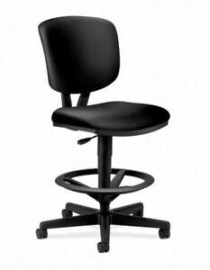 Hon Volt Task Stool Extended Height Footring Black Softhread Leather